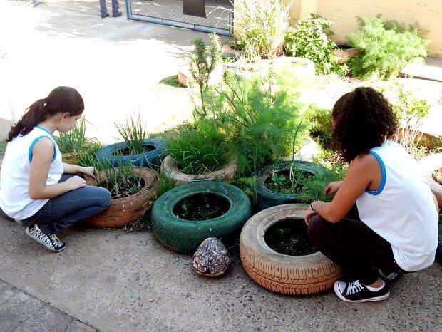 horta no pneu como fazer