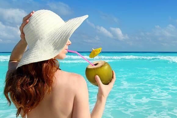 água coco para beleza
